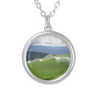 Ridge on alpine pasture with grass sprinklers silver plated necklace