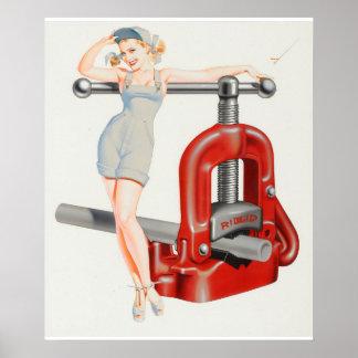 Ridge Tool calendar illustration, 1956 Pin Up Art Poster