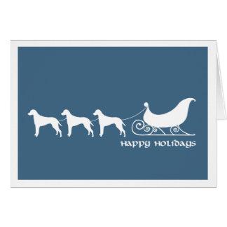 Ridgebacks Pulling Santa's Sleigh Greeting Card