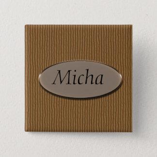 Ridged Wood Texture Monogram Pinback Button