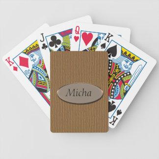 Ridged Wood Texture Monogram Playing Cards
