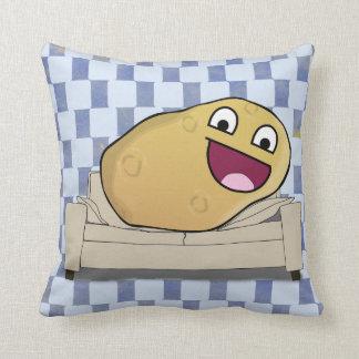 Ridiciously Happy Cartoon Couch Potato Throw Pillow