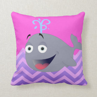 Ridiculously Happy Cartoon Whale Throw Pillow