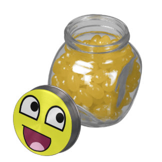 Ridiculously Happy Face Glass Candy Jar