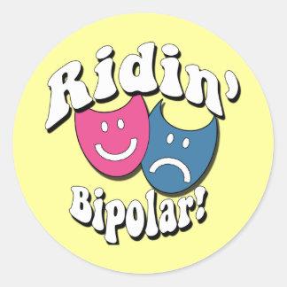Ridin' Bipolar Classic Round Sticker