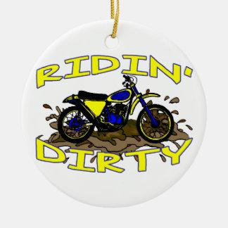Ridin Dirty Dirt Bike In Mud Ceramic Ornament