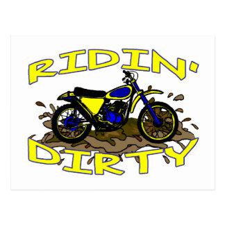 Ridin Dirty Dirt Bike In Mud Postcard