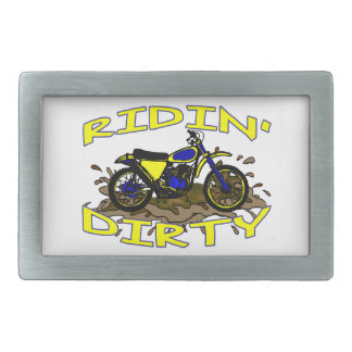 Ridin Dirty Dirt Bike In Mud Rectangular Belt Buckle