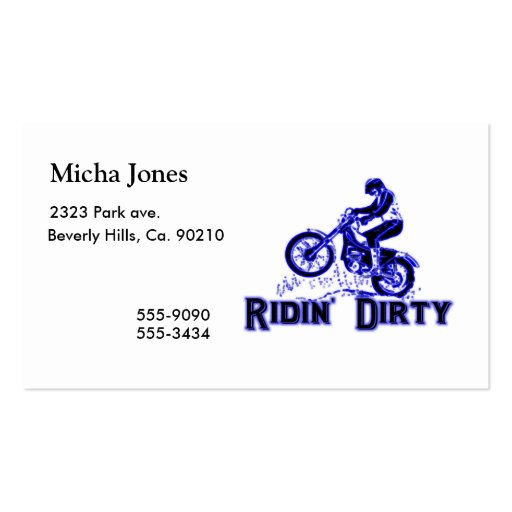 Ridin Dirty Dirt Bike Rider Double-Sided Standard Business Cards (Pack Of 100)