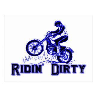 Ridin Dirty Dirt Bike Rider Postcard
