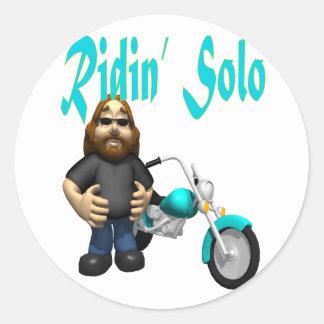 ridin.solo classic round sticker