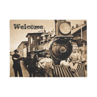 Ridin' that Train Vintage Railroad Locomotive Crew Doormat