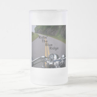 Ridin' The Blue Ridge Frosted Glass Beer Mug