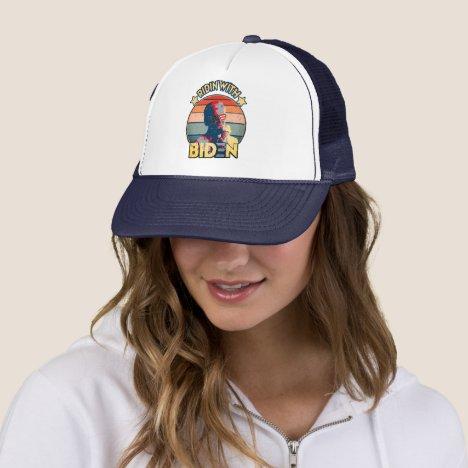 Ridin' With Biden Eating Ice-Cream Retro Sunset Trucker Hat
