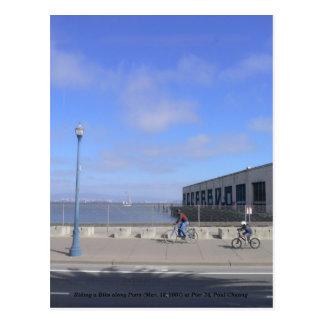 Riding a Bike along Piers... Postcard