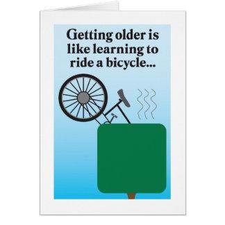 Riding a bike humorous birthday card