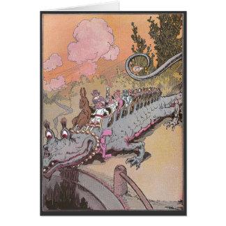 Riding a Dragon Vintage Oz Illustration Greeting Card