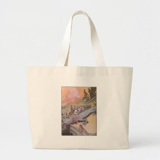 Riding a Dragon Vintage Oz Illustration Large Tote Bag