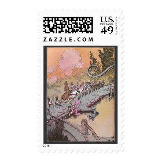 Riding a Dragon Vintage Oz Illustration Stamp