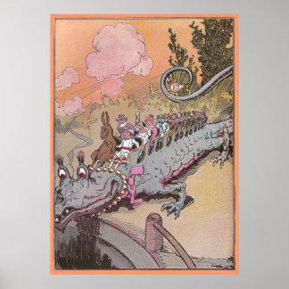 Riding a Dragon Vintage Oz Illustration Poster