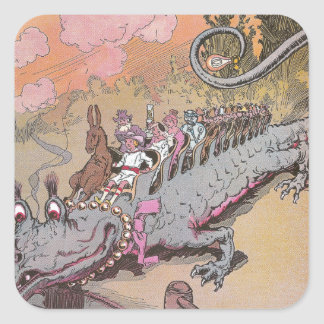 Riding a Dragon Vintage Oz Illustration Square Sticker