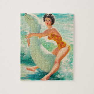 Riding a Water Toy Pin Up Art Jigsaw Puzzle