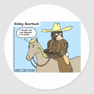 Riding Bear Back Funny Cards Mugs Tees & Gifts Classic Round Sticker