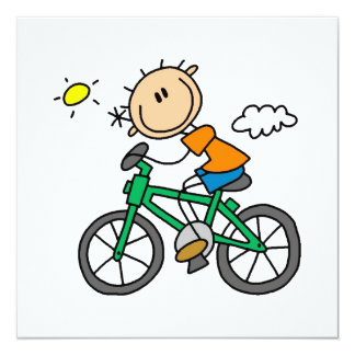 Riding Bicycle - Male 5.25x5.25 Square Paper Invitation Card