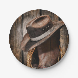 Riding Boots and Cowboy Hat Paper Plate