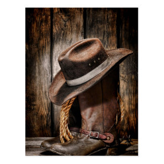 Riding Boots and Cowboy Hat Postcard