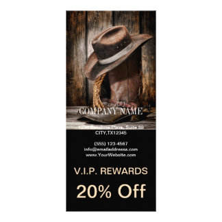 Riding Boots and Cowboy Hat Rack Card