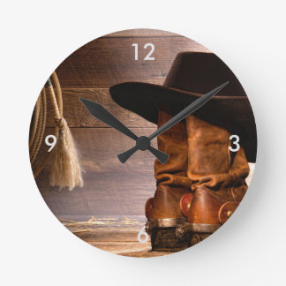 Riding Boots and Cowboy Hat Round Clock