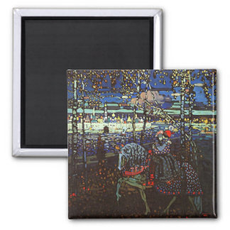 Riding Couple, Wassily Kandinsky 1907 2 Inch Square Magnet