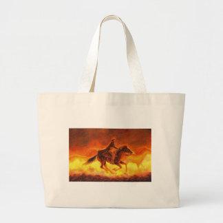 Riding Cowboy Large Tote Bag