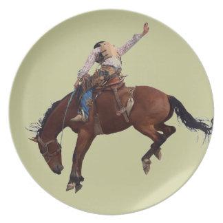 Riding Cowboy Melamine Plate