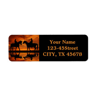 Riding Cowboys in Sunset Label