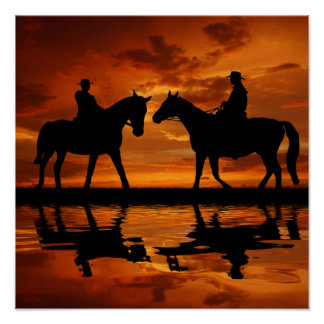 Riding Cowboys in Sunset Poster