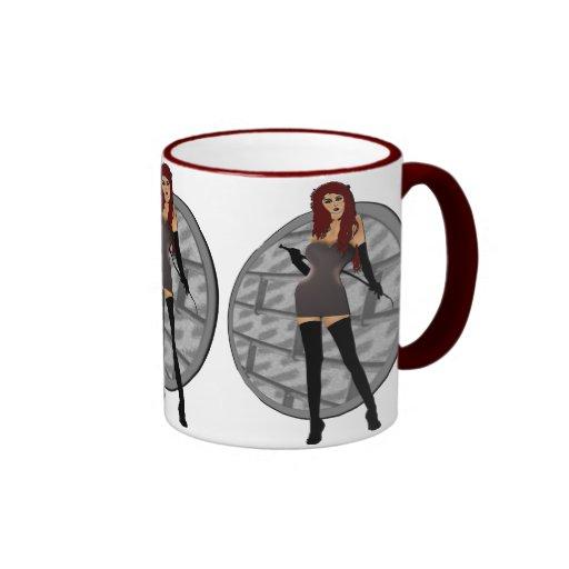 Riding Crop Mistress - Dungeon Wall Background Ringer Coffee Mug