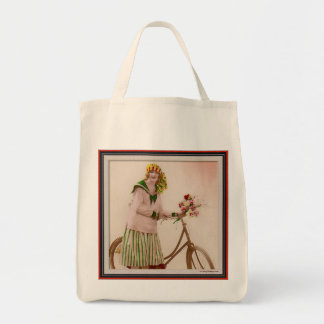 Riding Her Bike with Flowers Bag