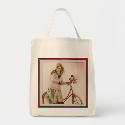 Riding Her Bike with Flowers Grocery Tote Bag