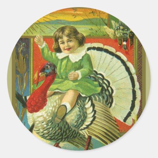 Riding High Thanksgiving Classic Round Sticker