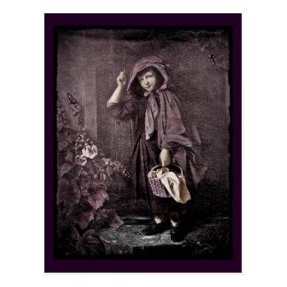 Riding Hood on Grandmas Doorstop Postcard