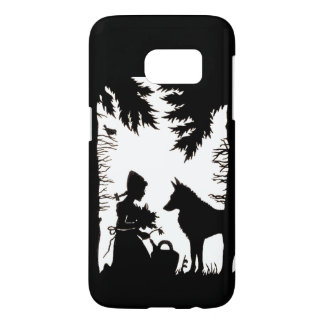 Riding hood Wolf Black Silhouette Sitting in Woods Samsung Galaxy S7 Case