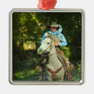 Riding horse through water metal ornament