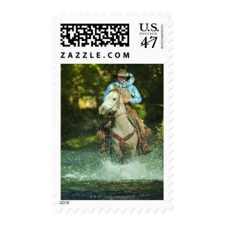 Riding horse through water stamp