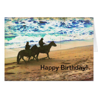 Riding Horses at the Beach Card