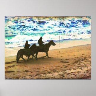 Riding Horses at the Beach print
