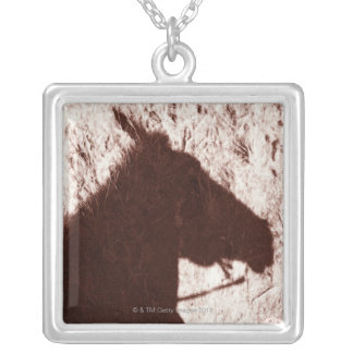 riding horse's head shadow on trail floor Jasper Silver Plated Necklace