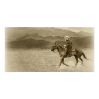 Riding in the Desert Antiqued Photo Card