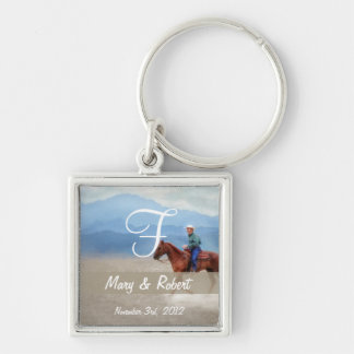 Riding in the Desert Monogram Silver-Colored Square Keychain